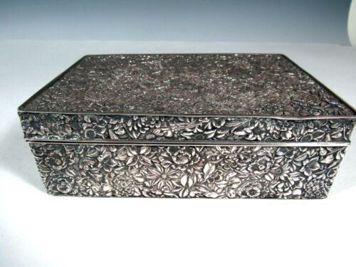 Antique Chinese Sterling Silver Repousse Floral Box
