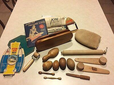 Antique & Vintage Lot Wood Darning Press Tools Sock Hose Finger Eggs Clapper+++