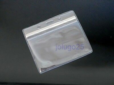 25 ID Badge Holder Clear Plastic ID Card Holders Horizontal Zip Lock K52-25