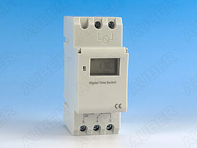 DIN Rail Mounted Programmable Timer Switch, 12V AC/DC, US Seller