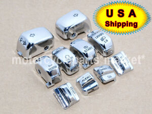 ENGRAVED Chrome Replacement Housing Switch Cap Button Kit For Harley 1996-2013
