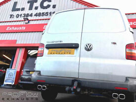 VW T5 fitted with a Proflow Custom Mid and Rear Exhaust System