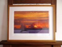 LARGE LIMITED EDITION PRINT BY BAS IN SOLID OAK FRAME