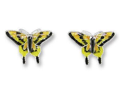 Yellow Swallowtail Butterfly Post Stud Sterling Silver Enamel Earrings RETIRED