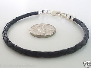 Mens-3mm-Leather-Braid-Bonded-925-Sterling-Silver-Bracelet-choose-col-length