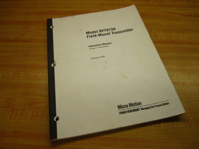 Micro Motion 3002190 RTF9739 Transmitter Instruction Manual