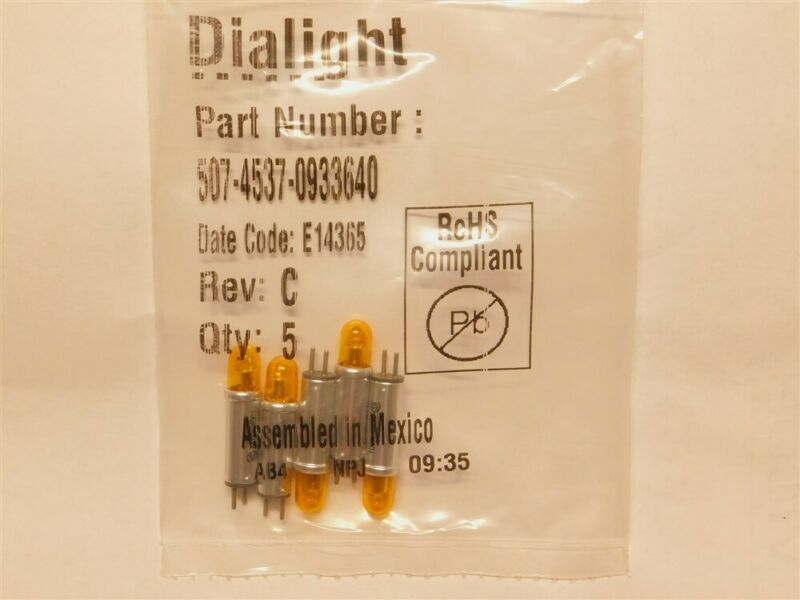5 Dialight 507-4537-0933-640 Amber Stovepipe Cartridge Neon Lamp 105-125AC/DC