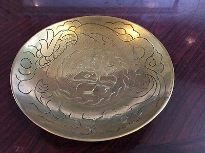 Pretty Brass 14Cm Dish With Dragon Design