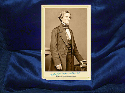 - JEFFERSON DAVIS Confederate President Cabinet Card Photograph Civil War Vintage