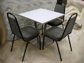 Grey canteen dining table and 3 chairs 75 x 75 cm