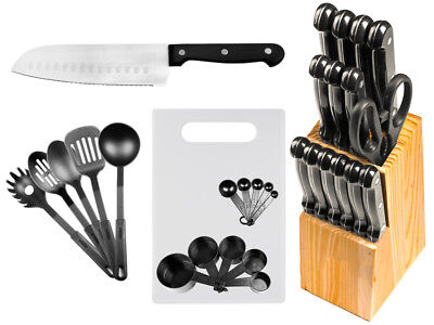 29 Pc Stainless Brace Kitchen Knives or Knife Set w/ Block & Kitchen Utensils