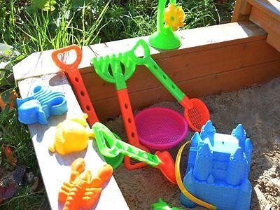 Sandkasten Spielzeug 11 teilig Set,Sandrad,Schaufel, Sieb, Eimer,Burg Sand,Neu
