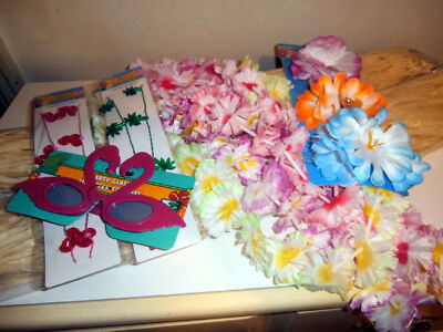 Pink Flamingo Hawaiian Luau Light Up Hula Costume Grass Skirt Leis Adjustabe Grass Skirts Leis