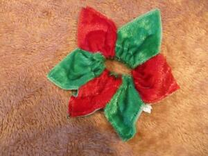 Dog Clothing - Red and Green Neck Flower or Band
