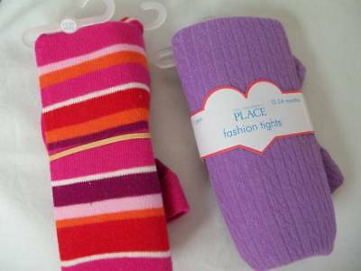 Lot 2 NEW Girls Winter Tights 12/24 mo Children's Place Purple and Pink Striped](Purple And Pink Striped Tights)