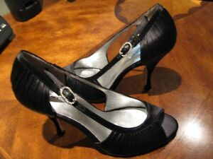Worn Only Once Size 7.5 Peep-Toe Satin Dress  High Heel Shoes