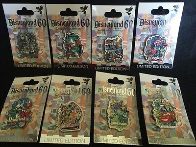 Disney pins Disneyland 60th Anniversary Decades complete 8 pin set LE