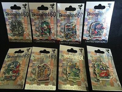 Disney pins Disneyland 60th Anniversary Decades complete 8 pin set LE