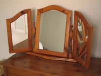 Pine dressing table mirror for bedroom.