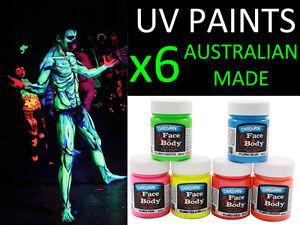 6 x UV Glow Fluro Neon Face Body Paint Set (40ml x 6)