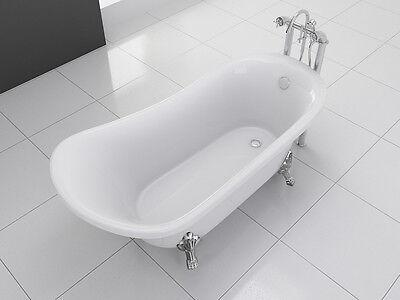 "1001NOW Freestanding Modern Clawfoot Acrylic White Bathtub Cesano 63"" with Drain"
