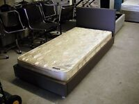 Single brown leather bed frame with Mayers mattress