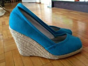Blue Wedge Sandals - Size 7 - $10