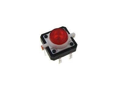 12x12mm Tactile Pushbutton Switch W Led - Red - Pack Of 2