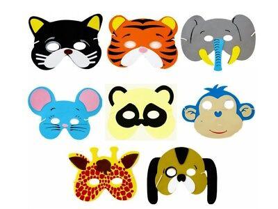 X 12 JUNGLE WILD ANIMAL RAIN FOREST ZOO SAFARI FOAM MASKS DRESSING UP FACE - Jungle Animal Face Masks