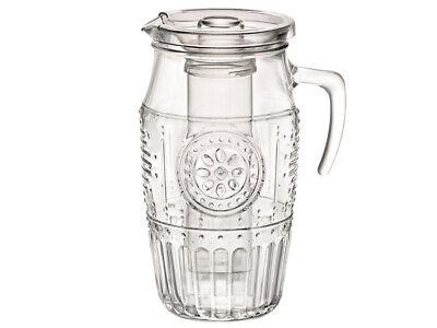 Pitcher Glaskrug Karaffe Krug Saftkrug mit Eisbehälter und Deckel 1,8l