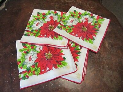 4  Xmas printed linen table napkins.Poinsettia. Red, green and white