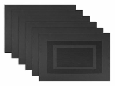 DII Woven Vinyl Double Border Placemats, Black, Set of 6 , New, Free Shipping