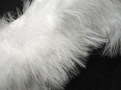 - F461 PER FEET- White Turkey Marabou Hackle Fluffy Feather Fringe Trim Craft