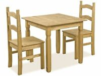 *FAST & FREE UK DELIVERY* Corona Mexican Pine Rio Square Dining Table and 2 Chairs