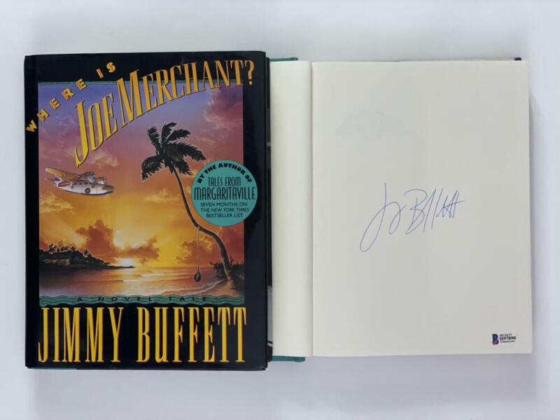 """JIMMY BUFFETT SIGNED AUTOGRAPH """"WHERE IS JOE MERCHANT"""" BOOK - MARGARITAVILLE BAS"""