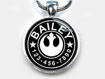 Rebel Star Wars Custom movie tag round single side Pet ID Cat Dog Tags