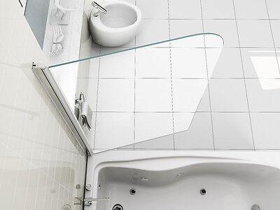 NEW DESIGN 180° Pivot Radius 6mm Glass Over Bath Shower Screen Door Panel NH