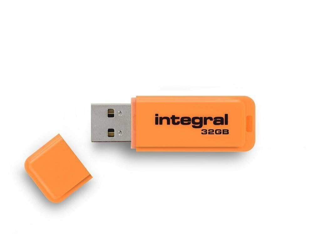 32GB USB 2.0 Flash Drive -  Integral Neon Orange