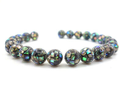 10mm Handmade Abalone shell mosaic ball round loose beads -