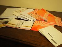20+ plain pink cards with envelopes, and 12 Private Eye Christmas cards