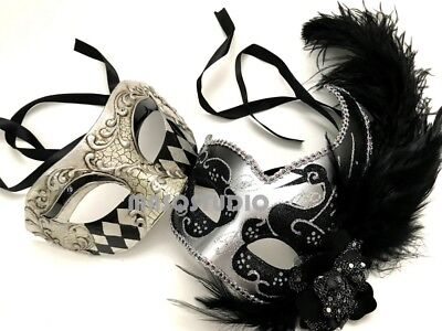 BS Ostrich Couple Masquerade Mask Pair Harlequin Cosplay Costume Halloween Party (Harlequin Halloween Mask)