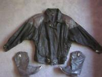 Black Stamped Leather Jacket and Boots set