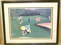 LIMITED EDITION GOLF PRINT SWINGING IN THE RAIN 1995 PETER MOORE