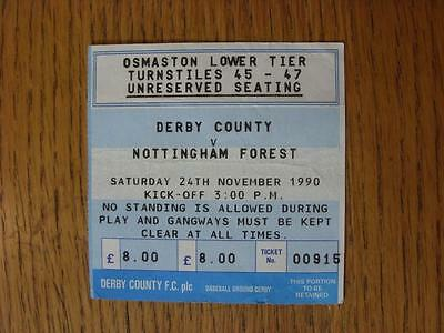24/11/1990 Ticket: Derby County v Nottingham Forest  (folded, creased)
