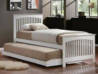 Single white wooden pull out guest bed & underbed brand new - Can deliver locally to Chester