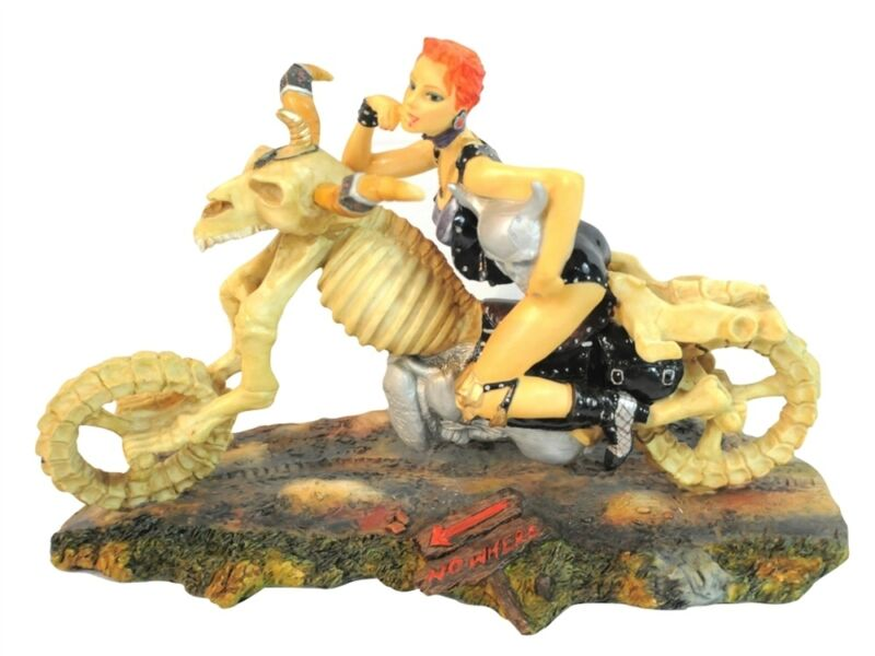 Sexy Biker Girl Riding Skeleton Motorcycle Chopper Statue Nice!!