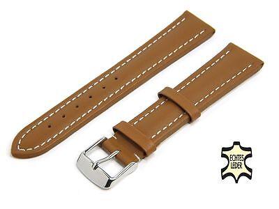 20 mm Uhrenarmband Leder Hellbraun Herren Uhrband Echt Kalb WEISSE ZIERNAHT Neu