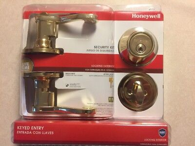 Brass Scroll Lever (Honeywell Scroll Lever Combo Door Lock, Polished Brass Locking Exterior)