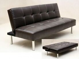 **7-DAY MONEY BACK GUARANTEE!** Click Click Leather Sofabed in Black or Brown - DELIVERED SAME DAY!