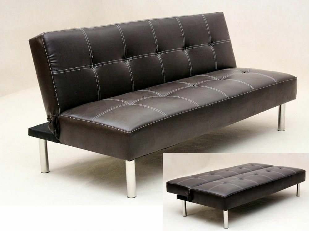 14 Day Money Back Guarantee Click Leather Sofabed In Black Or Brown Delivered Same